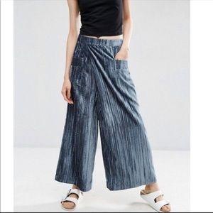 ASOS velvet pleated wide leg pants size 8